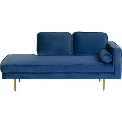 Right Hand Velvet Chaise Lounge Navy Blue MIRAMAS - BELIANI