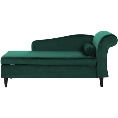 Beliani - Living Room Right Hand Velvet Chaise Lounge with Storage Emerald Green Luiro