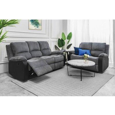 Living room Jumbo Cord Fabric Recliner Armchair Lounge Chair Home Reclining Sofa Set 3+2 - Roomee