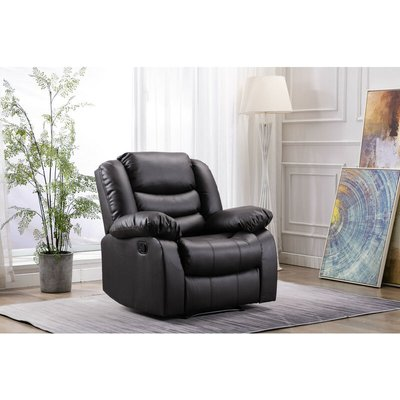 Living Room Recliner Bonded Leather Armchair Sofa in Brown with Padded Seat - Roomee