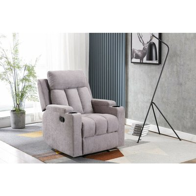 Living Room Recliner Fabric Armchair Sofa in Light Grey with Padded Seat - Roomee