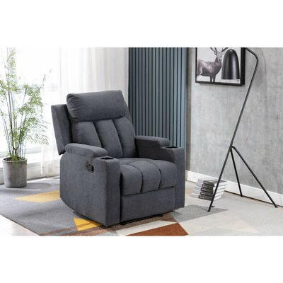 Living Room Recliner Fabric Armchair Sofa in Slate Grey with Padded Seat - Roomee