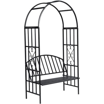 Garden Rose Arch with Bench - Black - Vidaxl
