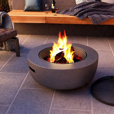 Round Fire Pit Outdoor Heater Garden Barbecue Wood Log Charcoal Burner BBQ Grill