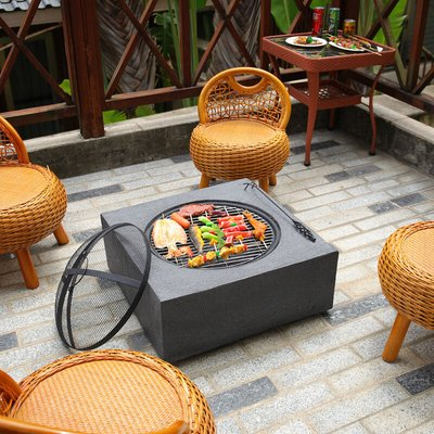 Square Fire Pit Outdoor Heater Garden Barbecue Wood Log Charcoal Burner BBQ Grill