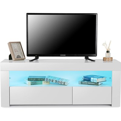 Maerex - High Gloss TV Stand Modern TV Unit Cabinet Stand With Drawer RGB LED 120X35X45cm White