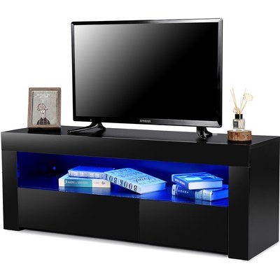Maerex - High Gloss TV Stand Modern TV Unit Cabinet Stand With Drawer RGB LED 120X35X45cm Black