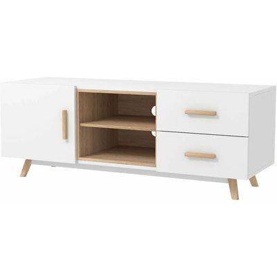 SENJA - TV Stand 1 Cupboard 2 Drawers - White - White