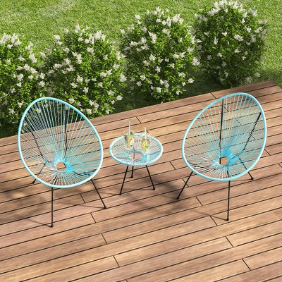 Set of 3 Outdoor Egg Designer Patio Furniture Set Table and 2 Chairs, Blue