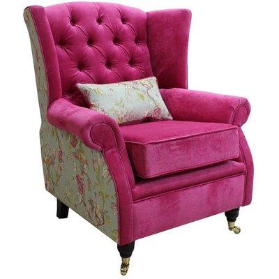 Designer Sofas 4 U - Sherlock Buttoned Chair Fireside High Back Armchair Danza Pink Renaissance Duckegg