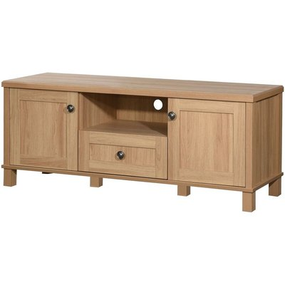 Sherwell TV Unit Stand Media Cabinet 2 Doors + Drawer & Shelf Oak - TIMBER ART DESIGN UK