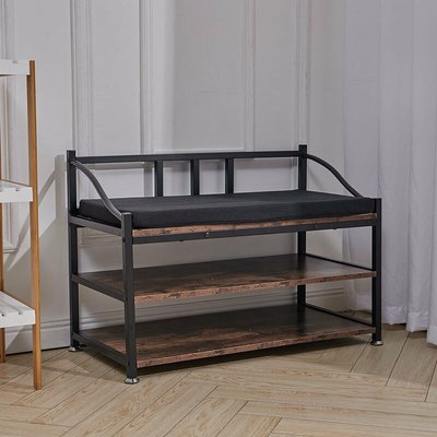 Shoe Bench with Seat, Shoe Rack with 2 Mesh Shelves, Shoe Storage Organiser for Hall Entryway, Metal, Industrial, Rustic Brown