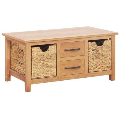 Sideboard 88x53x43 cm Solid Oak Wood and Water Hyacinth - Brown - Vidaxl
