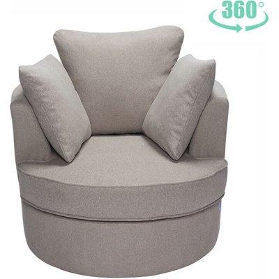 Single Seater Corner Swivel Sofa Armchair, Light Grey