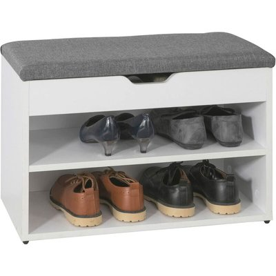 White Wood 2 Tiers Shoe Storage Bench Cabinet with Padded Seat FSR25-HG - Sobuy