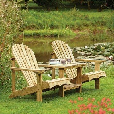 Wooden Adirondack Companion Seat Chair Table Garden Patio Lounger - Rowlinson
