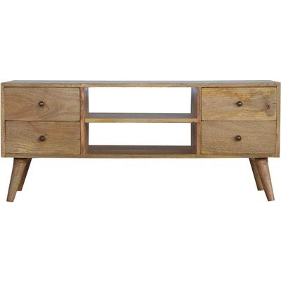 Solid Wood Nordic Media Unit With 4 Drawers