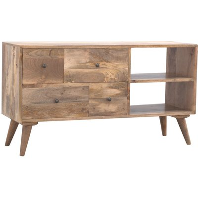 Solid Wood TV Stand with 4 Drawers and 2 Open Units - ARTISAN FURNITURE