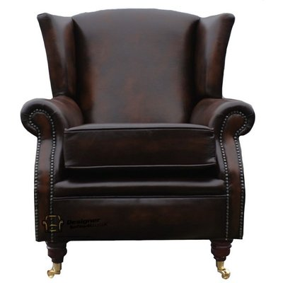 Southwold Wing Chair Fireside High Back Leather Armchair Antique Brown Leather - DESIGNER SOFAS 4 U