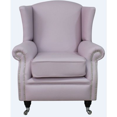 Southwold Wing Chair Fireside High Back Leather Armchair Blossom Pink Leather