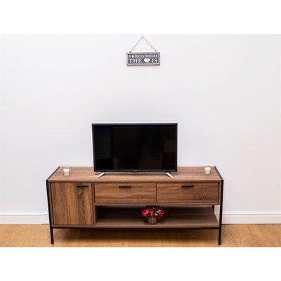 Stretton Rustic 150cm TV Unit Cabinet Media Stand 1 Door 2 Drawers Wenge Oak - TIMBER ART DESIGN UK