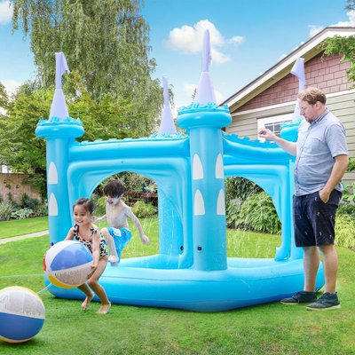 Garden Childrens Blue Castle Inflatable Water Paddling Pool TK-48271B-UK/EU - Teamson Kids