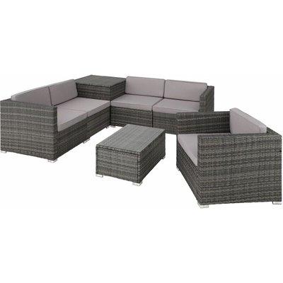 Rattan garden furniture lounge Pisa, variant 1 - garden sofa, garden corner sofa, rattan sofa - grey - TECTAKE