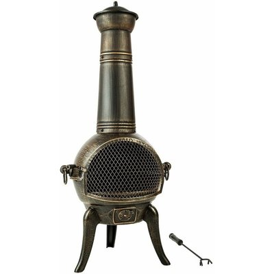 Tectake - Fire pit with chimney made of cast iron - outdoor fire pit, backyard fire pit, patio fire pit - grey