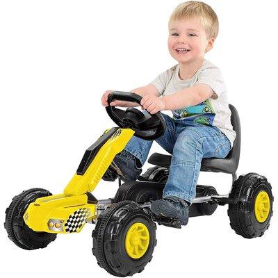 Redline Racer Go-Kart Ride On With Peddles - Yellow - Toyrific