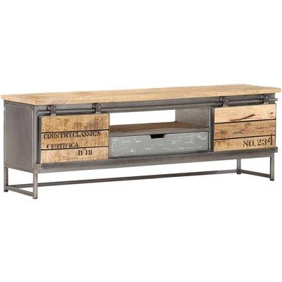 TV Cabinet 120x30x40 cm Solid Mango Wood - Grey - Vidaxl
