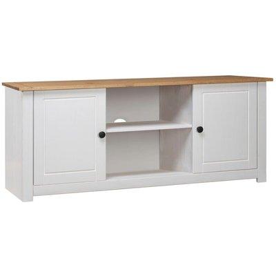 TV Cabinet White 120x40x50 cm Solid Pine Wood Panama Range - VIDAXL