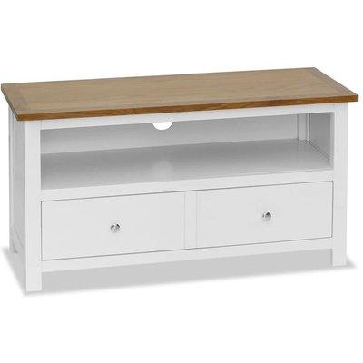 TV Cabinet 90x35x48 cm Solid Oak Wood - White