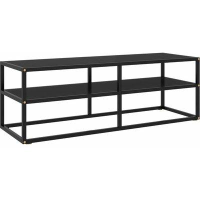 TV Cabinet Black with Black Glass 120x40x40 cm