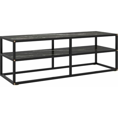TV Cabinet Black with Black Marble Glass 120x40x40 cm