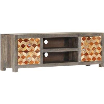 vidaXL TV Cabinet Grey 120x30x40 cm Solid Mango Wood - Grey