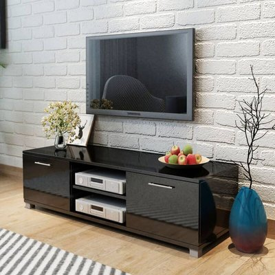 TV Cabinet High-Gloss Black 120x40.3x34.7 cm