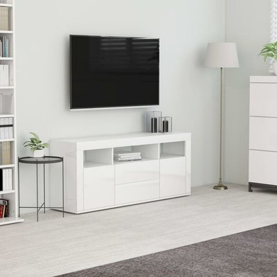 Youthup - TV Cabinet High Gloss White 120x30x50 cm Chipboard