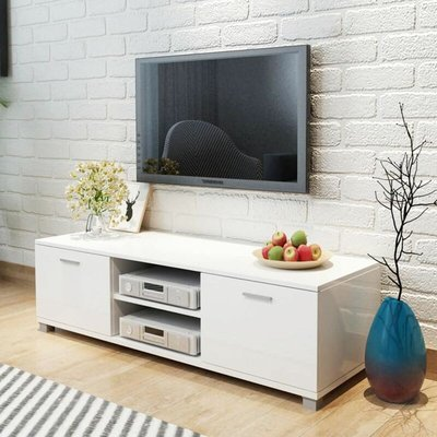 Youthup - TV Cabinet High-Gloss White 140x40.3x34.7 cm