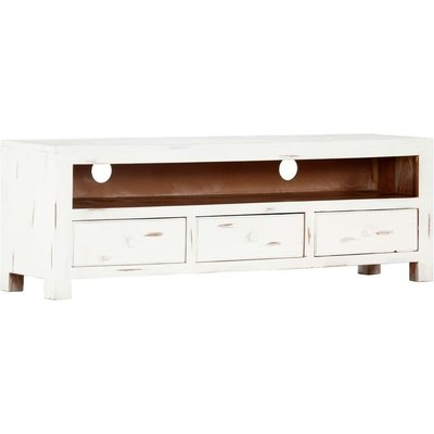 TV Cabinet White 120x30x40 cm Solid Acacia Wood - VIDAXL