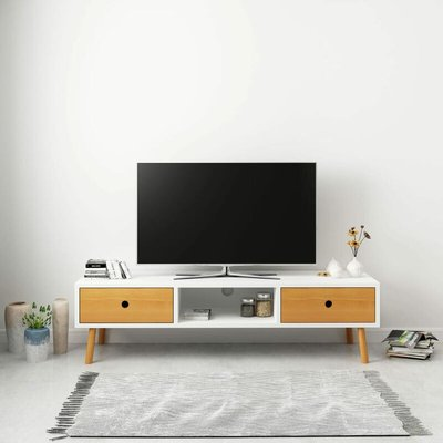 TV Cabinet White 120x35x35 cm Solid Pinewood - White