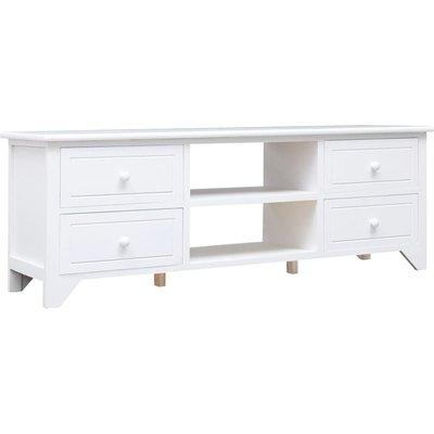 vidaXL TV Cabinet 115x30x40 cm Paulownia Wood White - White