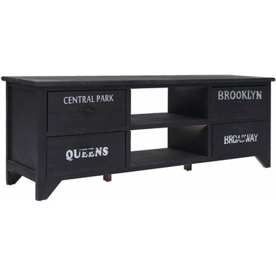 TV Cabinet 115x30x40 cm Wood Black - VIDAXL