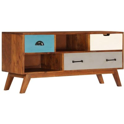 Youthup - TV Cabinet with 3 Drawers 110x35x50 cm Solid Acacia Wood