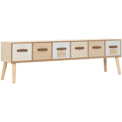 TV Cabinet with 6 Drawers 130x30x40 cm Solid Pinewood - VIDAXL