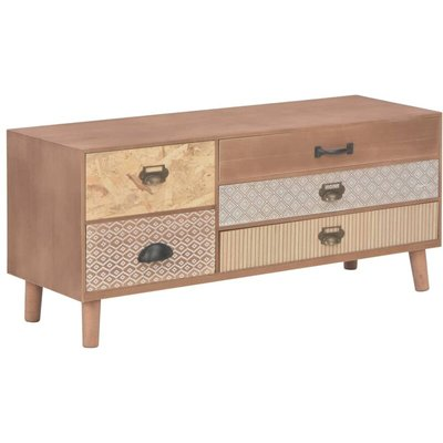 TV Cabinet with 5 Drawers Solid Pinewood 90x30x40 cm - Brown - Vidaxl