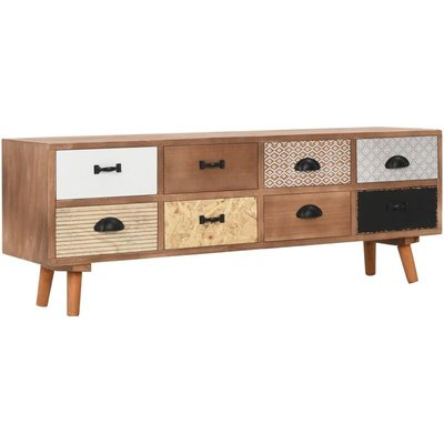 vidaXL TV Cabinet with 8 Drawers Solid Pinewood 120x30x40 cm - Brown