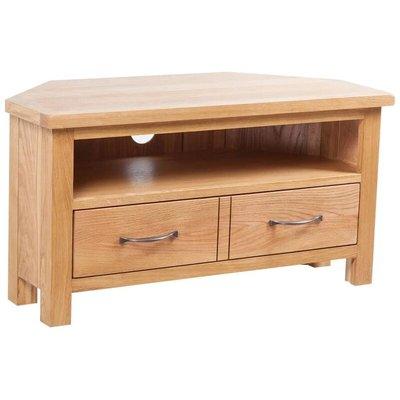 vidaXL TV Cabinet with Drawer 88 x 42 x 46 cm Solid Oak Wood - Brown