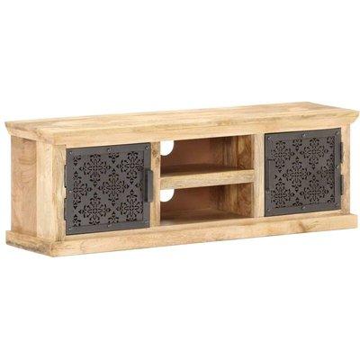 TV Cabinet with Steel Doors 120x30x40cm Solid Mango Wood - Black - Vidaxl