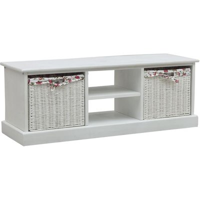 TV Cabinet with Two Baskets White Wood - White - Vidaxl