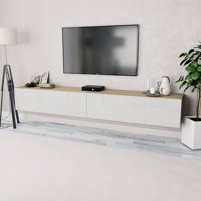 vidaXL TV Cabinets 2 pcs Chipboard 120x40x34 cm High Gloss White Oak - Brown